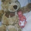 Jordan at birth with his big cuddly bear