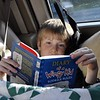 Jordan got comfy and read his book on the long drive