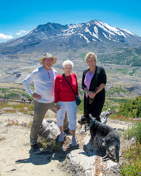 Me, mom, sister and Bogie and Mount Saint Helens