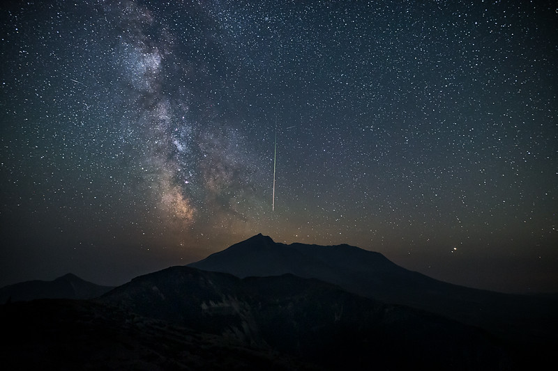 Milky Way and meteor over Mt St Helens