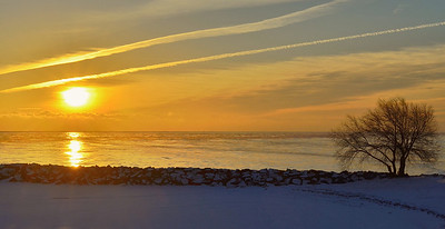 Winter Sunrise. Lake Michigan off St. Francis Wisconsin.