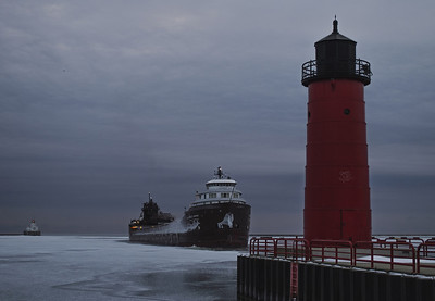 Cold, cold morning in Wisconsin. Lake Michigan, Port of Milwaukee.