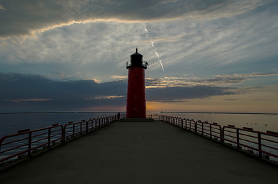 Pierhead Lighthouse. Lake Michigan. port of Milwaukee Wisconsin.