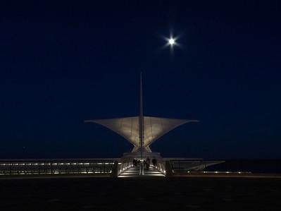 Full moon rising over Calatrava Museum, Milwaukee Wisconsin.