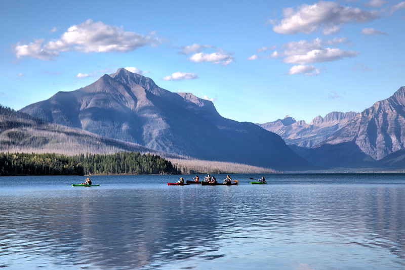 Canoeing on Lake McDonald in Glacier National Park