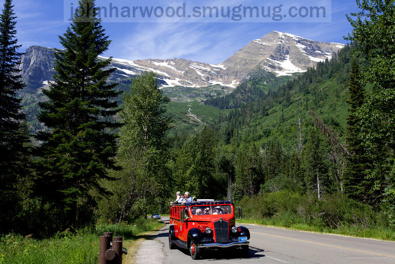 The red bus in Glacier National Park