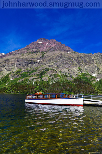Tour boat on Two Medicine Lake in Glacier National Park
