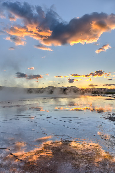 Sunset over the Grand Prismatic Spring in Yellowstone National Park - portrait