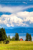 The Red barn on on Flathead Lake