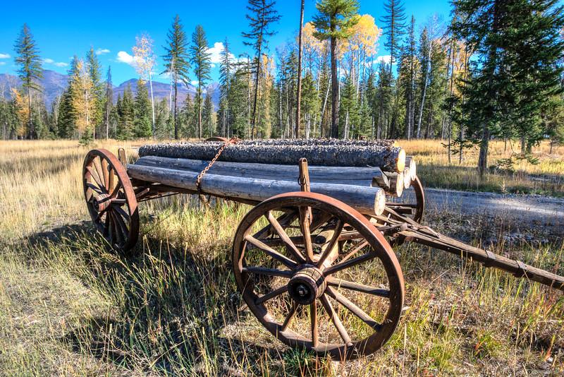 Old Log Wagon near Condon Montana
