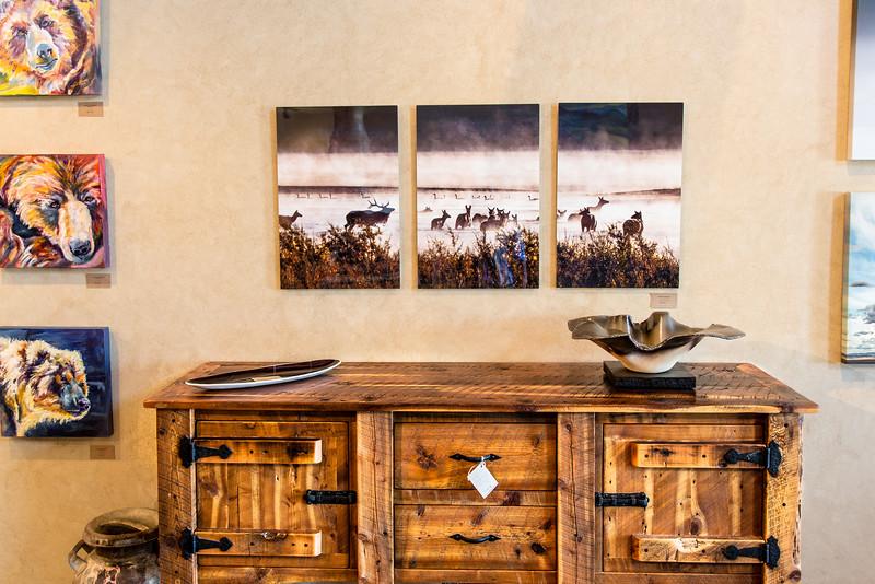 Elk in the Mist Triplet  metal prints on display in the Homestead 89 Gallery.