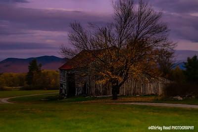 Old Barn in purple sky
