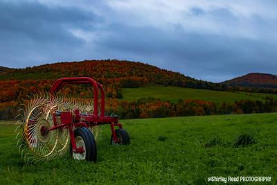 Red Autumn Hay Thrasher