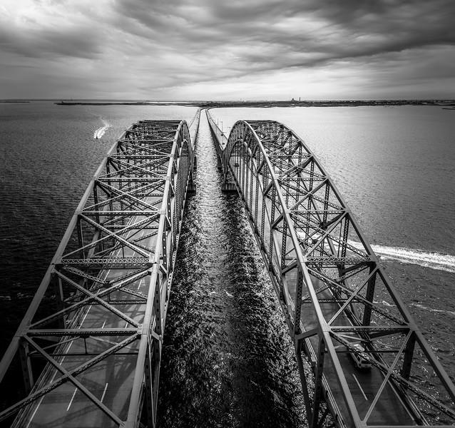 Robert Moses Bridge B&W Aerial