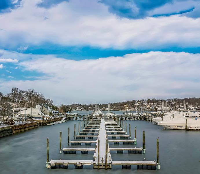Aerial of Wintry Huntington Marina