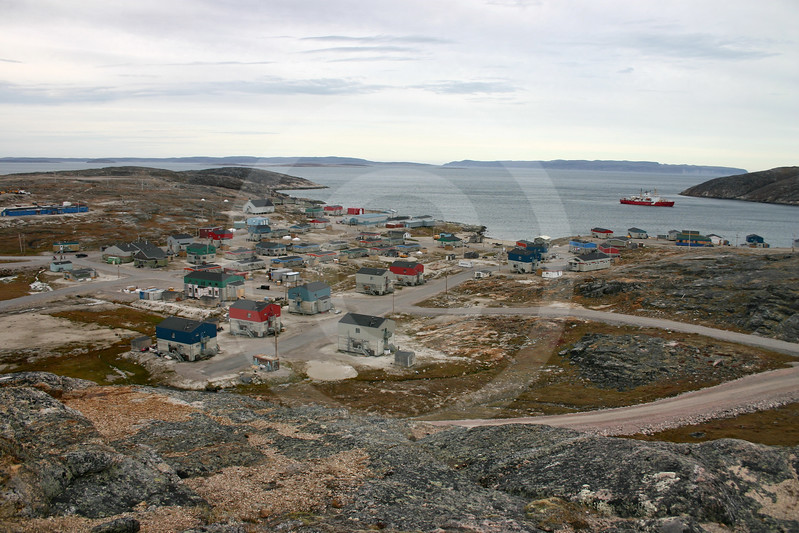 (158) Inuit community of Ivujivik with CCGS Amundsen in background