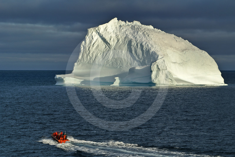 (233) ArcticNet scientists depart from the CGGS Amundsen to sample the surface waters surrounding a drifting iceberg in northern Baffin Bay, on the west coast of Greenland