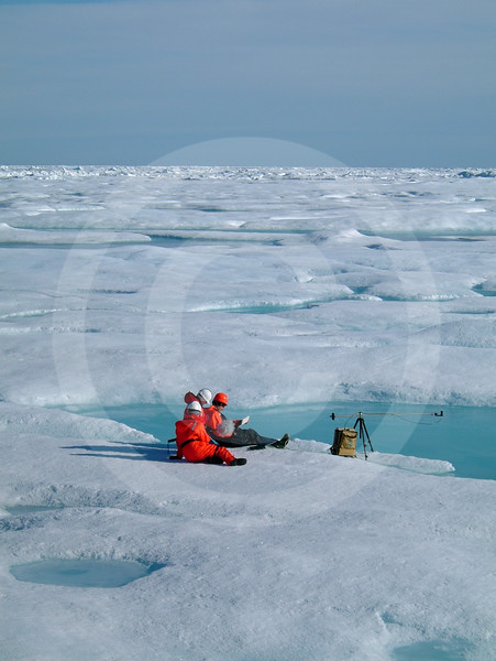 (64) Scientists taking ice measurements