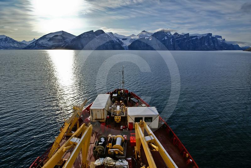 (266) The CCGS Amundsen sailing the majestic Gibbs Fjord, Baffin Island, Nunavut