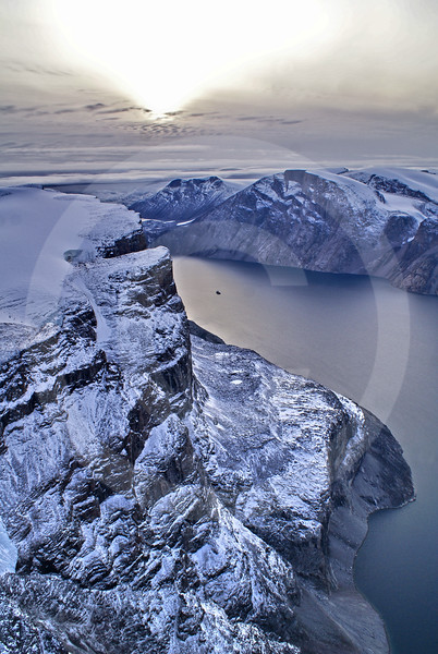 (214) The CGGS Amundsen sailing the majestic Gibbs Fjord, Baffin Island, Nunavut