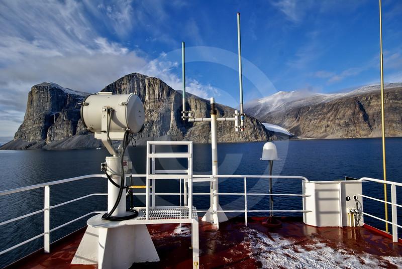 (267) The CCGS Amundsen sailing the majestic Gibbs Fjord, Baffin Island, Nunavut