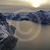 (213) The CGGS Amundsen sailing the majestic Gibbs Fjord, Baffin Island, Nunavut