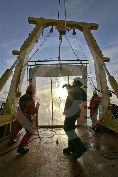 (223) ArcticNet scientists sample juvenile fish using a Rectangular Mid-Water Trawl deployed from the foredeck of the CCGS Amundsen