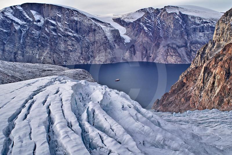 (280) The CCGS Amundsen sailing the majestic Gibbs Fjord, Baffin Island, Nunavut
