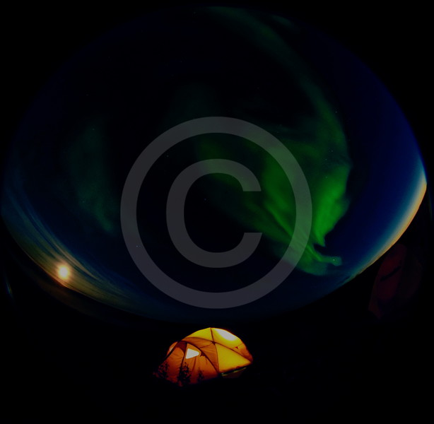(1049) Auroras and a full moon over a tent at Trail Valley Creek camp north of Inuvik