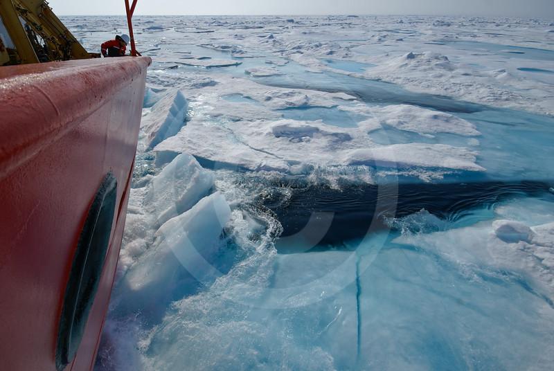 (646) CCGS Amundsen breaking ice