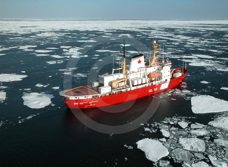 (194) CCGS Pierre Radisson navigating through ice