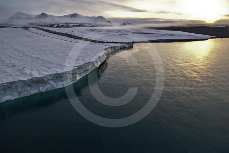 (205) Bylot Island glacier flowing in Lancaster Sound, Nunavut