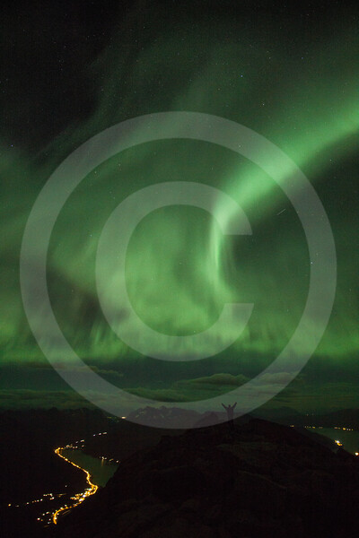 (2244) Surreal experience of aurora borealis on top of a mountain. A dream coming true.
