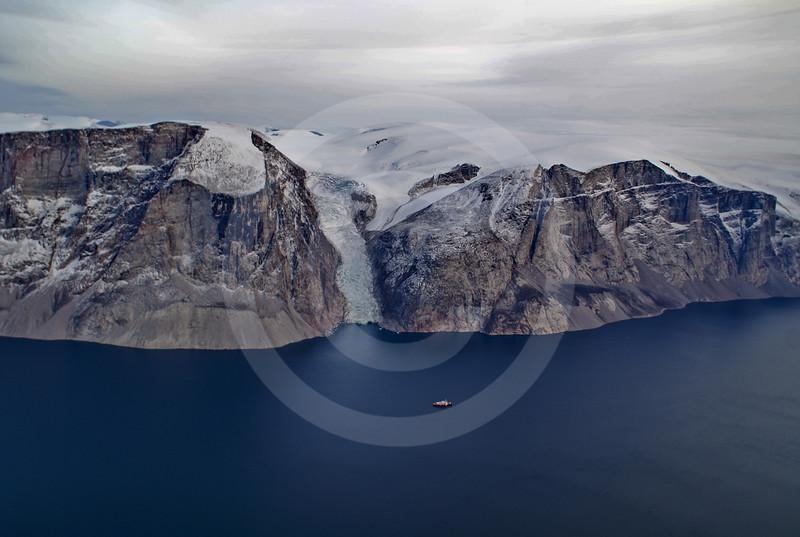 (217) The CCGS Amundsen sailing the majestic Gibbs Fjord, Baffin Island, Nunavut