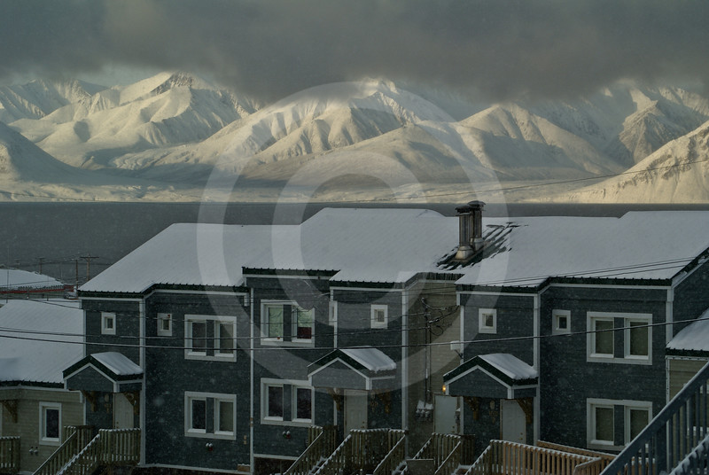 (227) The community of Pond Inlet on the northern tip of Baffin Island overlooks the majestic Bylot Island, Nunavut