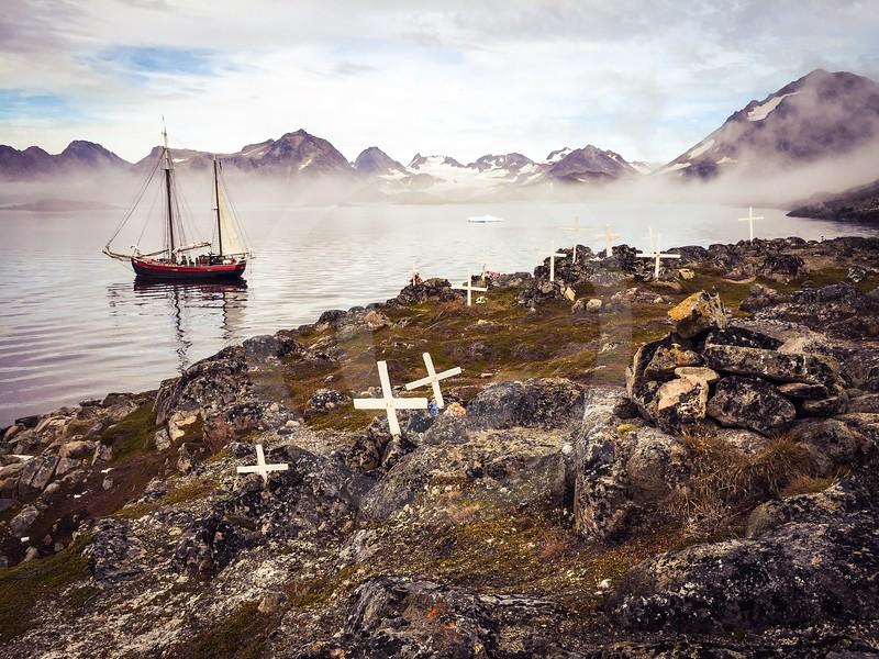 (1043) Morning mist surrounding the island of Kulusuk, Greenland