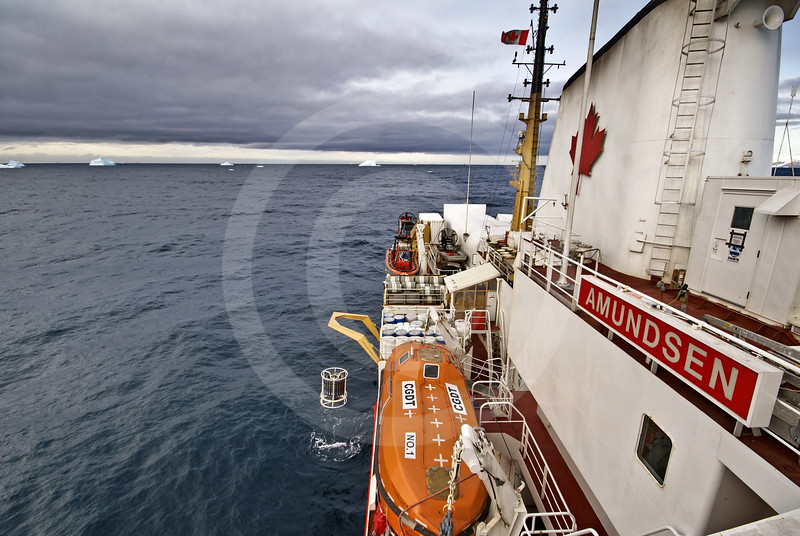 (257) The CTD-Rosette sampler is deployed from the CCGS Amundsen amidst a sea of icebergs on the west coast of Greenland