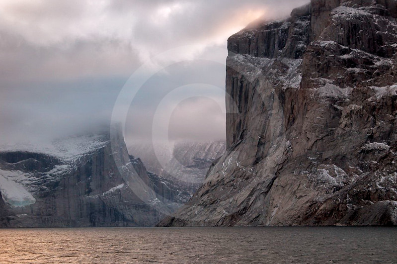 (131) Cliffs in Baffin Island fjord