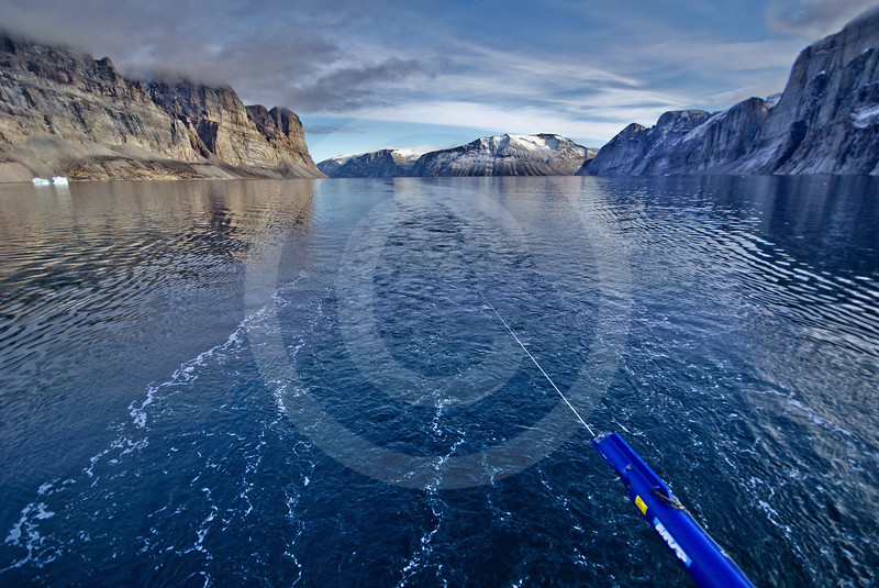(272) The Moving Vessel Profiler towed from the CGGS Amundsen allows ArcticNet scientist to study the physical properties of the surface waters of Gibbs Fjord, Baffin Island, Nunavut