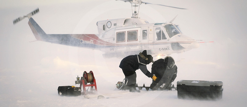 (328) Scientists sampling sea ice