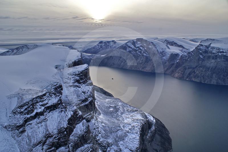 (215) The CCGS Amundsen sailing the majestic Gibbs Fjord, Baffin Island, Nunavut