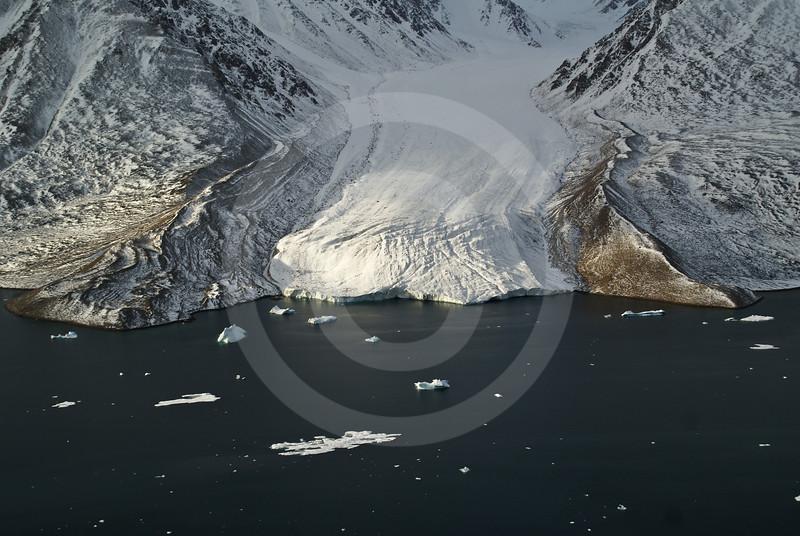 (250) Receeding glacier flowing into Makinson Inlet, Ellesmere Island, Nunavut
