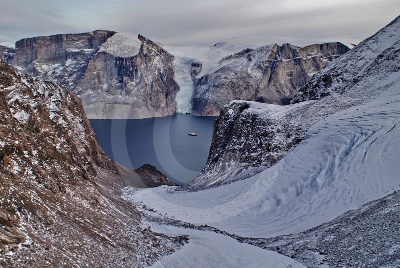 (211) The CCGS Amundsen sailing the majestic Gibbs Fjord, Baffin Island, Nunavut