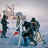 (337) Artistic composition of scientists deploying nets to catch arctic cod under the ice of the Beaufort Sea while the CCGS Amundsen overwinters as part of the CFL program