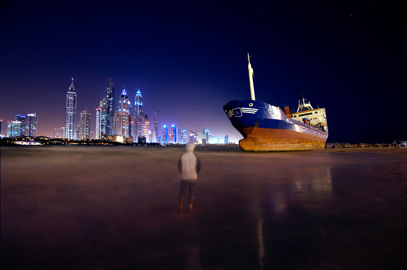 Jumeira Beach Residence, JBR, Dubai, United Arab Emirates, Ajman Ship Wreck in 2013, Landscape Photography, Composite Technique, Nikon D700, Tokina 17-35mm, Vimal Nathan Viswanathan Photography.