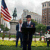 DC MOLLUS Commander Pollock introduces Gen McPherson - the statue behind him. The 35 year old General was killed today 150 years ago near Atlanta. DC MOLLUS joined with several other groups and the Park Service in remembering his service.<br /> McPherson Square<br /> Connecticut Ave/ K Street<br /> Washington, DC 20005