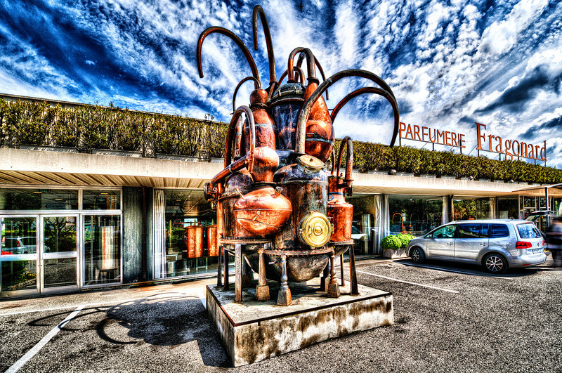Steampunk in front of Perfume factory. France. City of Grasse.