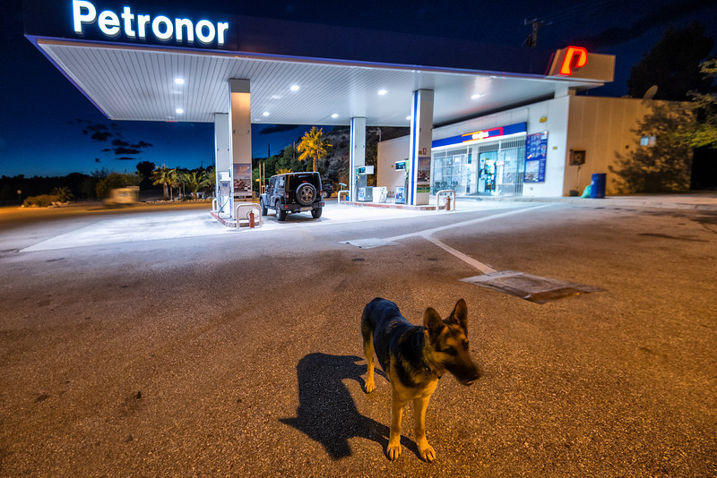Empty gas station somewhere near Gibraltar. And friendly guard. Spain.