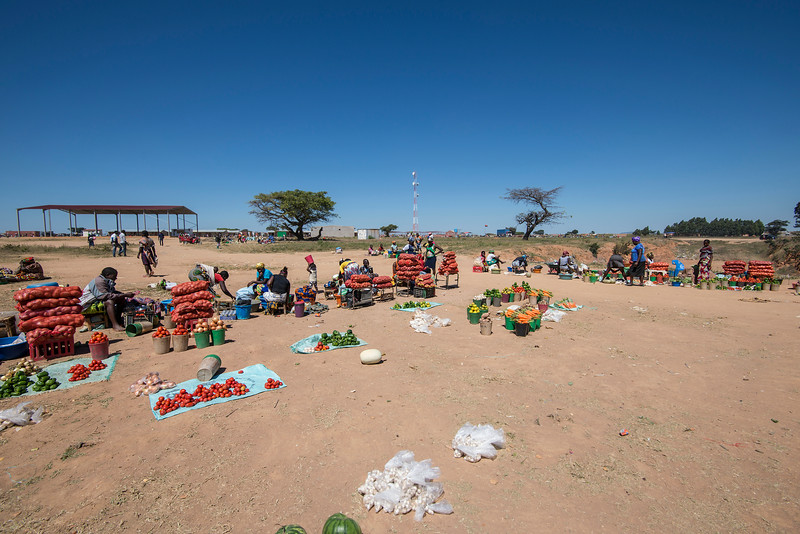 Looking for food in Angola's local market.
