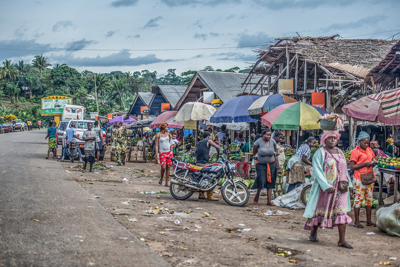 Cameroon. Roads full of food, drinks and goods.